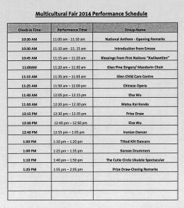 Multicultural Fair schedule